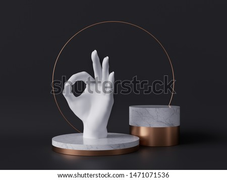 3d rendering of white hand, okay sign gesture, marble pedestal isolated on black background, good quality concept, gold round frame, blank cylinder podium, simple clean design, luxury minimal mockup