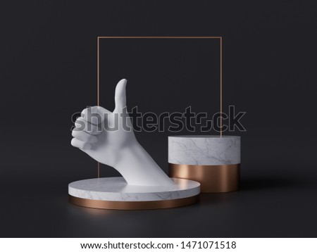 3d rendering of white hand thumb up, like gesture, marble pedestal isolated on black background, good quality concept, gold square frame, blank cylinder podium, simple design, luxury minimal mockup