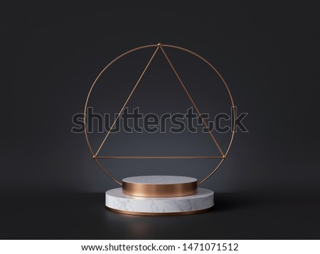 3d rendering of white marble pedestal isolated on black background, gold art deco frame, ring, cylinder steps, abstract minimal concept, blank space, simple clean design, luxury minimalist mockup