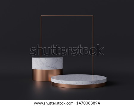 3d rendering of white marble pedestal isolated on black background, gold square frame, two cylinder blocks, abstract minimal concept, blank space, simple clean design, luxury minimalist mockup