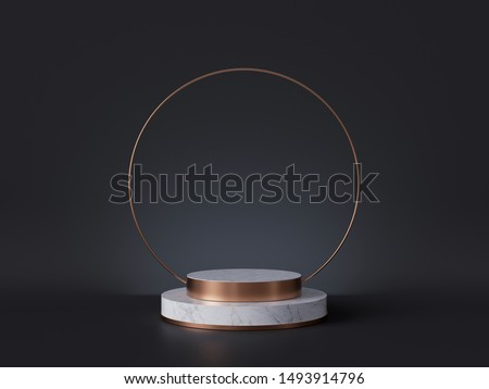 3d rendering of white marble pedestal isolated on black background, round gold frame, ring, cylinder steps, abstract minimal concept, blank space, simple clean design, luxury minimalist mockup