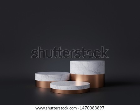3d rendering of white marble pedestal isolated on black background, three cylinder blocks, abstract minimal concept, blank space, simple clean design, luxury minimalist mockup