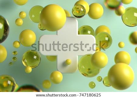 Stock Photo 3d rendering of white medical cross and random flying spheres in perspective on light background. Oil blobs flying on camera. Design for health care poster, banner, cards.