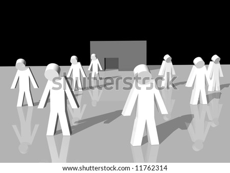 3d rendering of white men walking away from a bankrupt firm