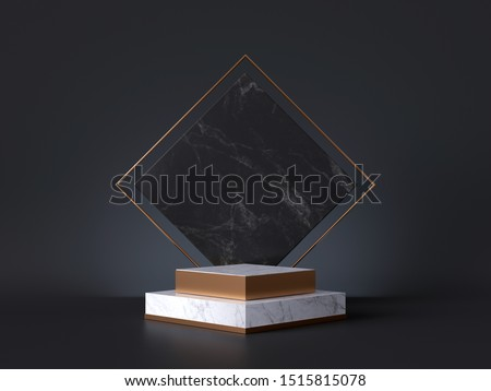 3d rendering of white pedestal steps isolated on black, rhombus marble background, memorial board, art deco geometric frame, abstract minimal concept, blank space, clean design, minimal fashion mockup