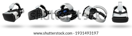 3D Rendering of white VR cameras in multiple angle for graphic source. Realistic VR glasses on white background. Сток-фото ©