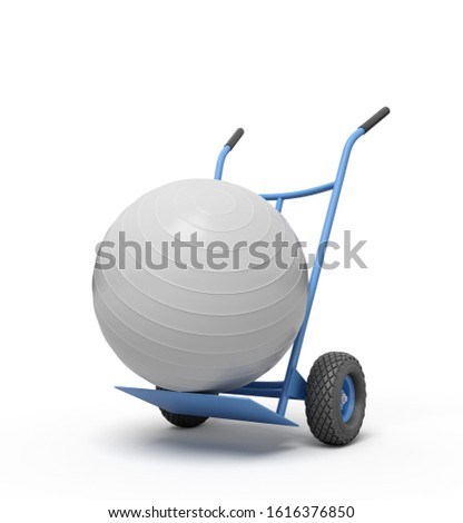 3d rendering of white yoga exercise ball on blue hand truck. Sporting supplies. Exercise equipment. Exercise and fitness store.