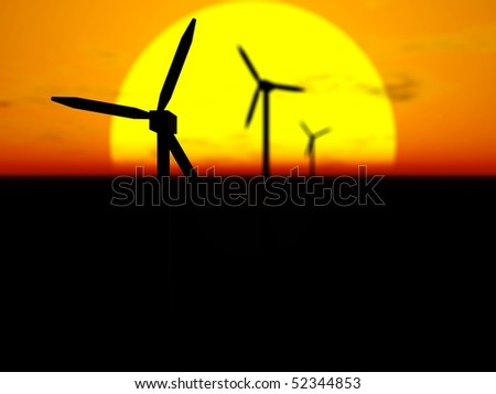 3D rendering of wind turbines in front of the sun disc at sunset with selective focus