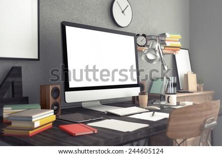 3d rendering of  workspace
