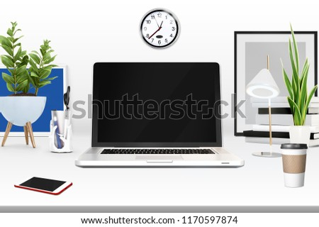 3d rendering of workspace with laptop, 3d illustration
