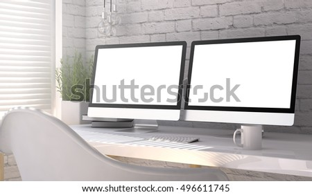 3d rendering of workspace with two blank monitors
