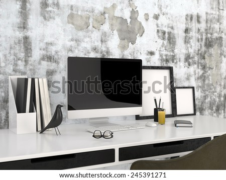 3D Rendering of Workstation with modern desktop computer spectacles, blank picture frames, a bird ornament and neat files against a grey wall with abstract pattern in a business, study or home office