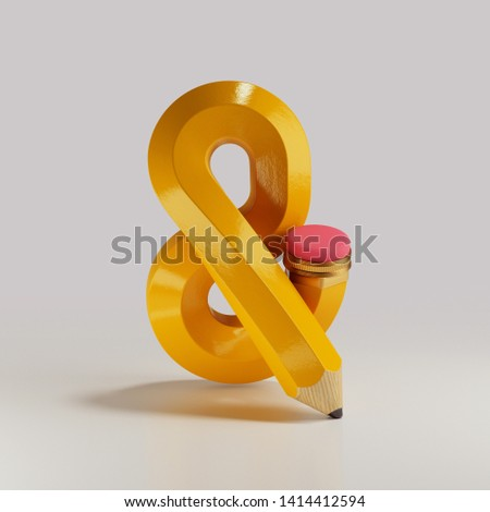 3d rendering of yellow bent pencil in the shape of an ampersand with pink rubber and metal tip. Soft shadow isolated on white background. Knotted object. Graphite pencil