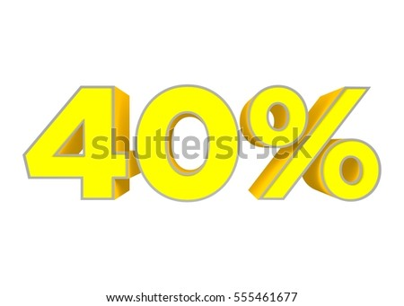 3D rendering, Offer, 40, number, forty, Yellow on a white background, render #555461677