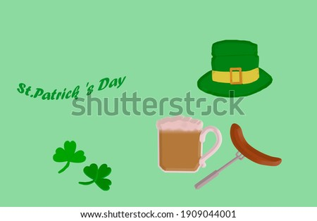 3 D - rendering. On a green background, two clover leaves, a green hat, a mug of beer with foam and a sausage on a fork. On the side is the inscription 'St. Patrick's Day'.  Foto stock ©