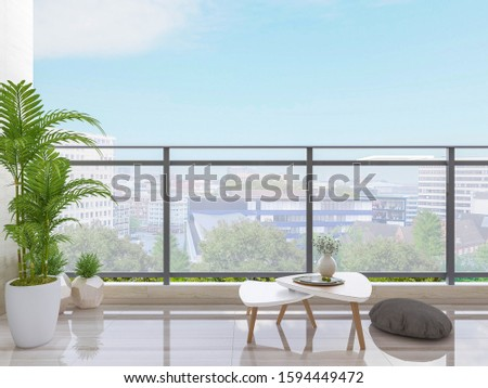 3D rendering,On the open balcony, there are sofa stool and tea table, with blue sky and white clouds outside