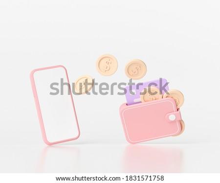 3D rendering Online mobile money transfer, Secure online payment, and mobile banking concept. 3D illustration