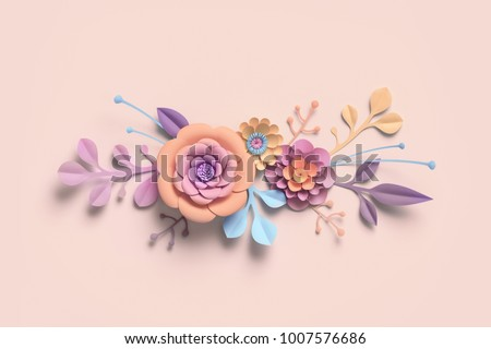 3d rendering, paper flowers, pastel color palette, botanical background, isolated clip art, bouquet, floral border