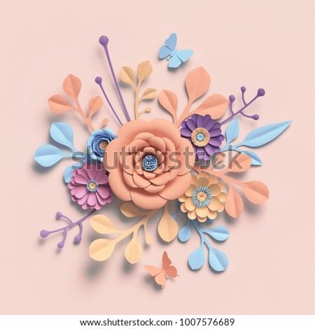 3d rendering, paper flowers, pastel color palette, botanical background, isolated clip art, round bouquet, floral arrangement