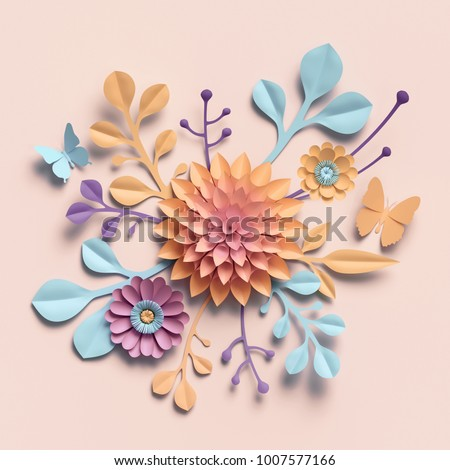 3d rendering, paper flowers, pastel color palette, botanical background, isolated clip art, round bouquet, floral arrangement