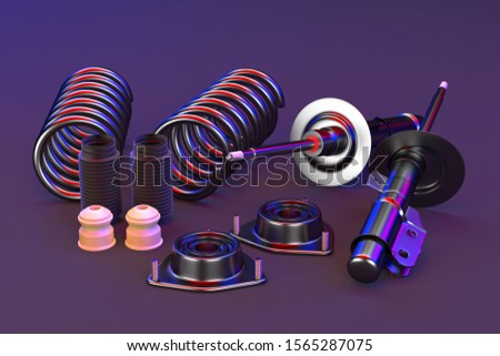 3D rendering. Passenger car Shock Absorber with dust cap, buffer mounting and strut mounting - new auto parts, spare parts. Spare parts for shop, aftermarket OEM