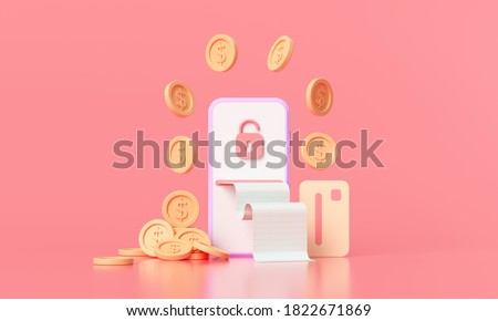 3D rendering payment via credit card concept. Secure online payment transaction with smartphone. Internet banking via credit card on mobile. object floating background.