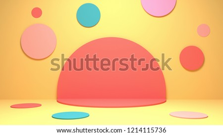 3d rendering picture of colorful circles room.