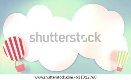 3d rendering picture of hot air balloons paper crafts and white clouds. Blank copy space for your logo or messages. - Shutterstock ID 611312960