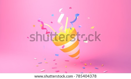 3d rendering picture of party popper. Simple pink solid background with hard lighting effect.