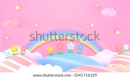3d rendering picture of sweet cartoon mountains, flowers, stars and rainbow.