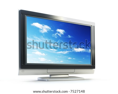 3d rendering plasma TV on white background
