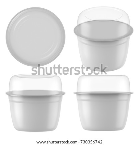 3D rendering Plastic tub with clear lid container for dessert, yogurt, ice cream, sour cream, snack, butter, margarine or cheese, Mock Up Template