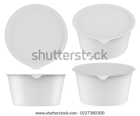 3D rendering Plastic tub with foil lid container for dessert, yogurt, ice cream, sour cream, snack, butter, margarine or cheese, Mock Up Template
