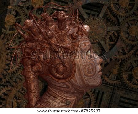 3D Rendering Portrait of an alien creature