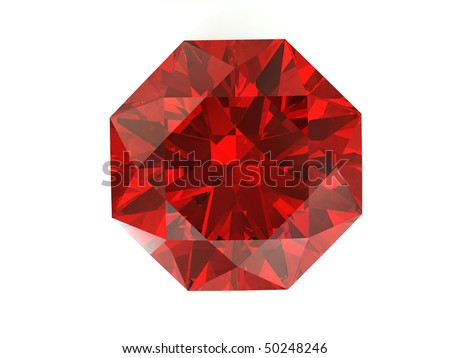 3D rendering red diamond on  white background top view