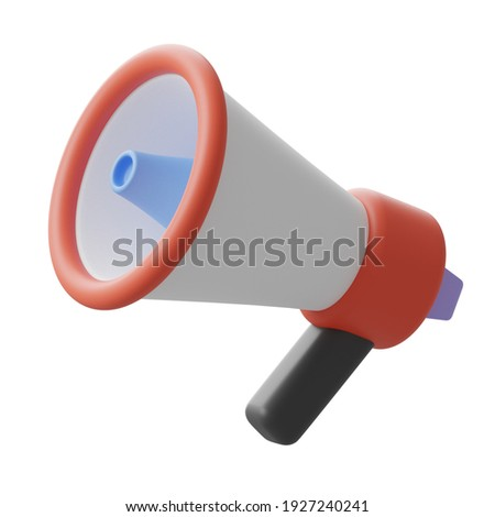 3d rendering red, white, blue, and black megaphone logo sign symbol, stock illustration clip art design element isolated on white background Stock photo ©