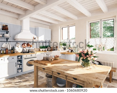 3D RENDERING. retro kitchen in a cottage with sleeping cat.