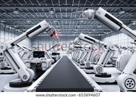 3d rendering robot arms with conveyor line