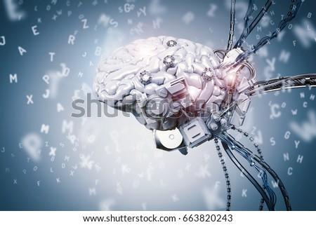 3d rendering robot brain...