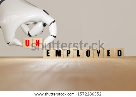 3d rendering robot hand flip wooden cube change from employed to unemployed