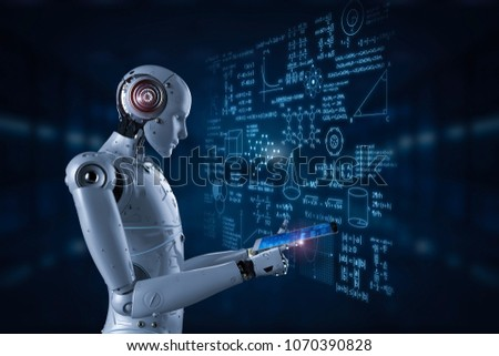 3d rendering robot learning or machine learning with education hud interface