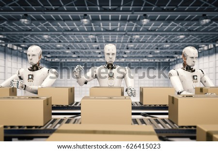 3d rendering robot working with carton boxes on conveyor belt