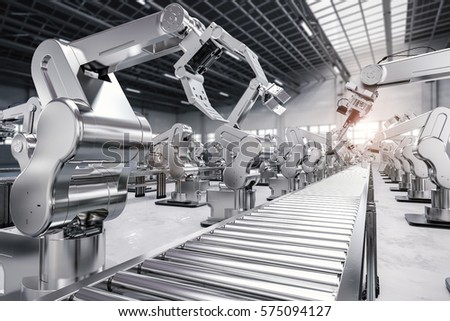 3d rendering robotic arm with conveyor line