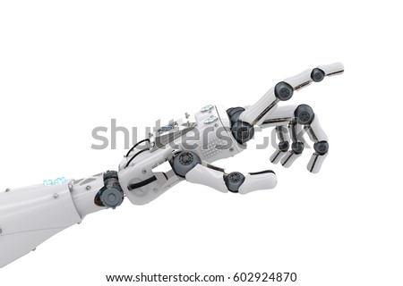 3d rendering robotic hand pointing isolated on white