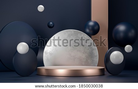 3D rendering round podium geometry with gold elements. Abstract geometric shape blank dark blue podium. Scene for product presentation. Empty showcase, pedestal platform display. Foto d'archivio ©