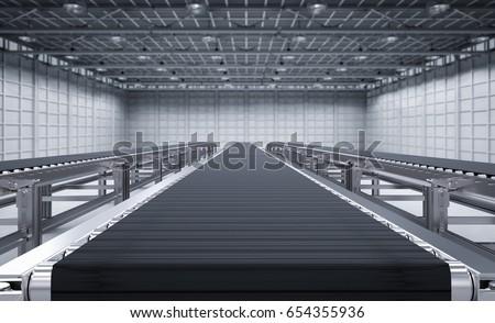 3d rendering rubber conveyor belt in factory Stockfoto ©