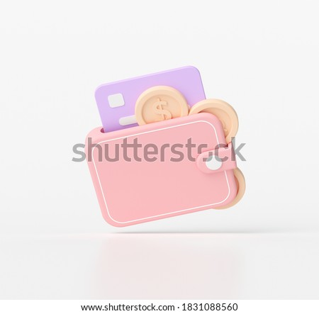 3D rendering saving money concept. wallet and coins, credit card 3d icon.