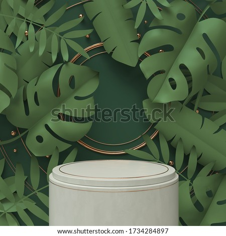 3d rendering scene podium display with Tropical leaf background.