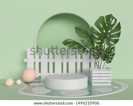 3d rendering scene with podium and green leaf abstract background. Geometric shape in pastel colors.