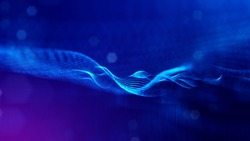 3d rendering, science fiction background of glowing particles with depth of field and bokeh. Particles form line and surface grid. microcosm or space. Blue V41